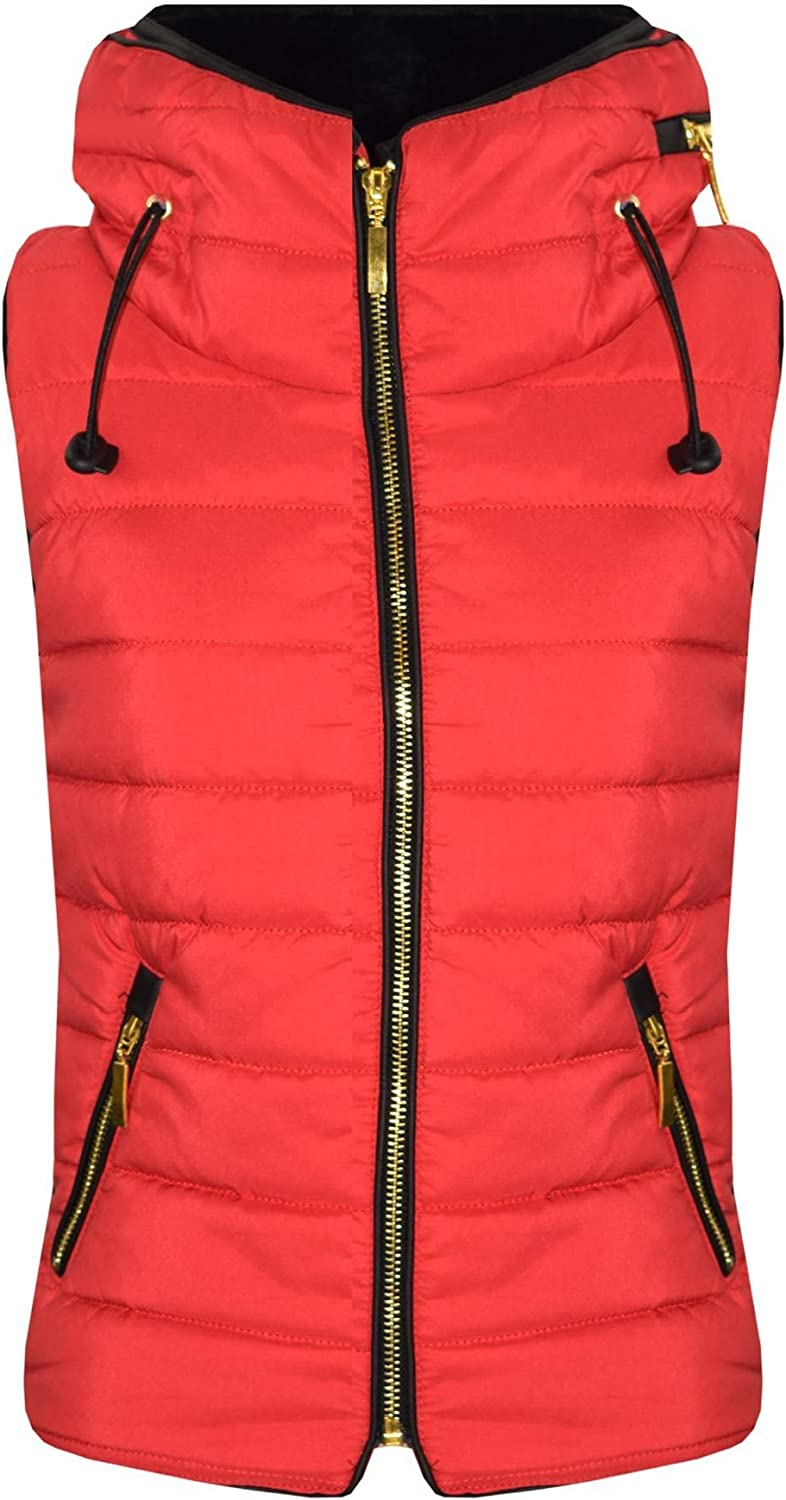 A2Z 4 Kids/® Kids Girls Boys Designers Red Sleeveless Hooded Padded Quilted Puffer Bubble Gilet Bodywarmer Jackets 5 6 7 8 9 10 11 12 13 Years