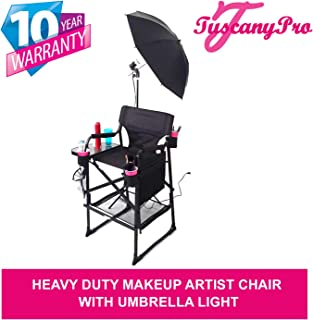 TuscanyPro Portable Heavy-Duty Makeup Artist Chair with Umbrella Light Kit - Perfect for Makeup, Salon, Events with 29 Inch Seat Height - Carry Bag Included - 10 Years Warranty - US Patented