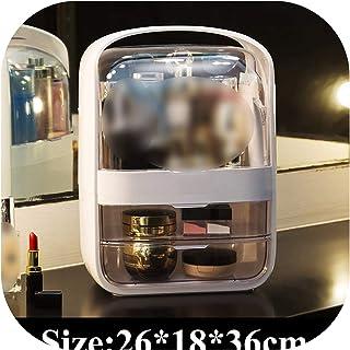 Makeup Organizer Large Capacity Waterproof And Dustproof Bathroom Cosmetic Storage Box Desktop Beauty Storage Drawer,Ivory