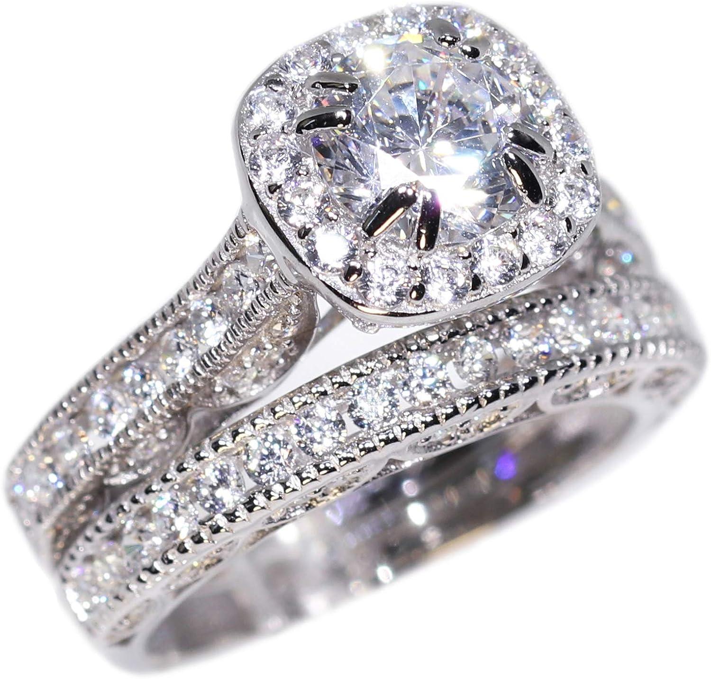 Engagement Ring Wedding Max 45% OFF Set Rhodium Over Platinum Silve Popular standard Sterling