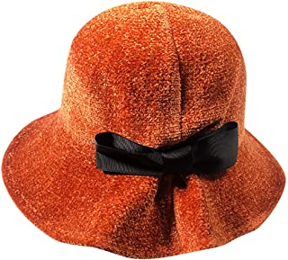 Women's Solid Color Winter Hat Chenille Bucket with Bow Clearance- Iuhan Women Winter Keep Warm Hat Fisherman Hat Bowknot Caps (Orange)