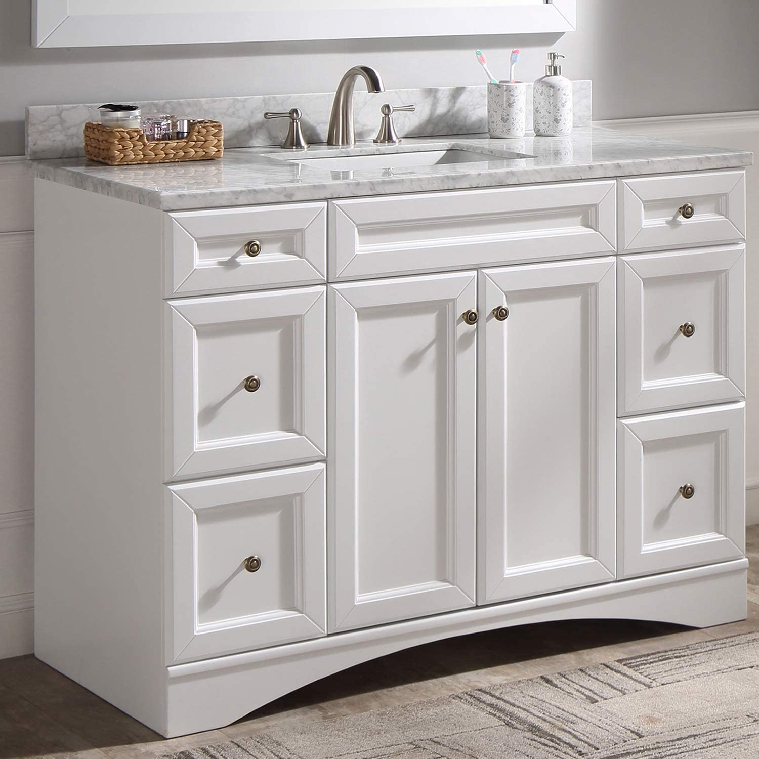 Amazon Com 48 Single Bathroom Vanity Bathroom Vanity With Marble Top And Round Sink 48 Inches White Tools Home Improvement