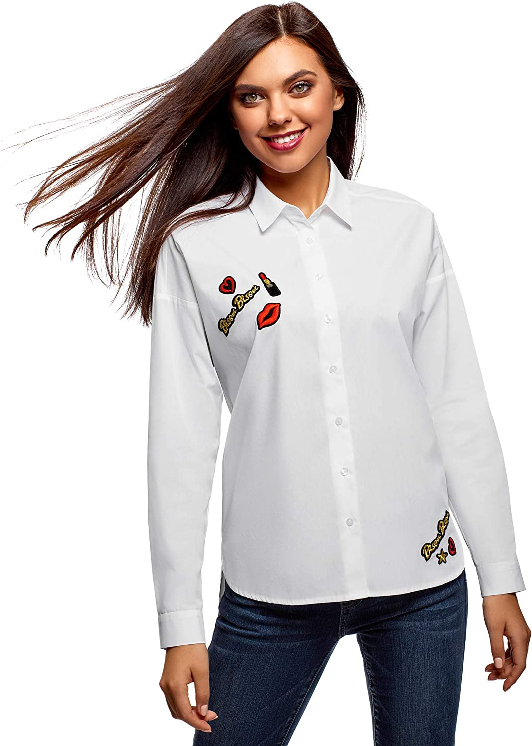 Oodji Ultra Women's RelaxedFit Cotton Shirt with Patches