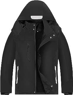 miiooper Men's Waterproof Windproof Jacket Snow Ski Jackets Winter Hooded Mountain Fleece Outwear Rain Coat