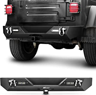 Nilight JK-54A 87-06 Rear Compatible for 1987-2006 Jeep Wrangler TJ&YJ,Rock Crawler Bumper with Hitch Receiver & 2X Upgraded 40W LED Lights Off Road Textured Black,2 Years Warranty