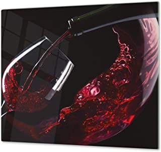Cubre vitros de Cristal Templado - Tabla para Cortar de Cristal – Tabla para amasar y Protector de vitro – UNA Pieza (60 x 52 cm) o Dos Piezas (30 x 52 cm); D04 Serie Bebidas: Vino 14