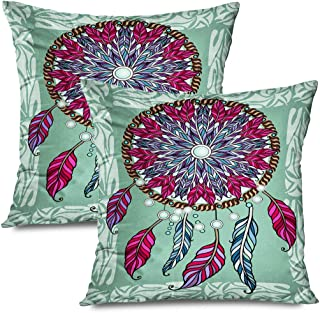 Ahawoso Set of 2 Throw Pillow Covers Square 18x18 Ornamental Tribal Amulet Circle Free Feather Wild Indians Miscellaneous Radial Round Vintage Aztec Zippered Pillowcases Home Decor Cushion Cases