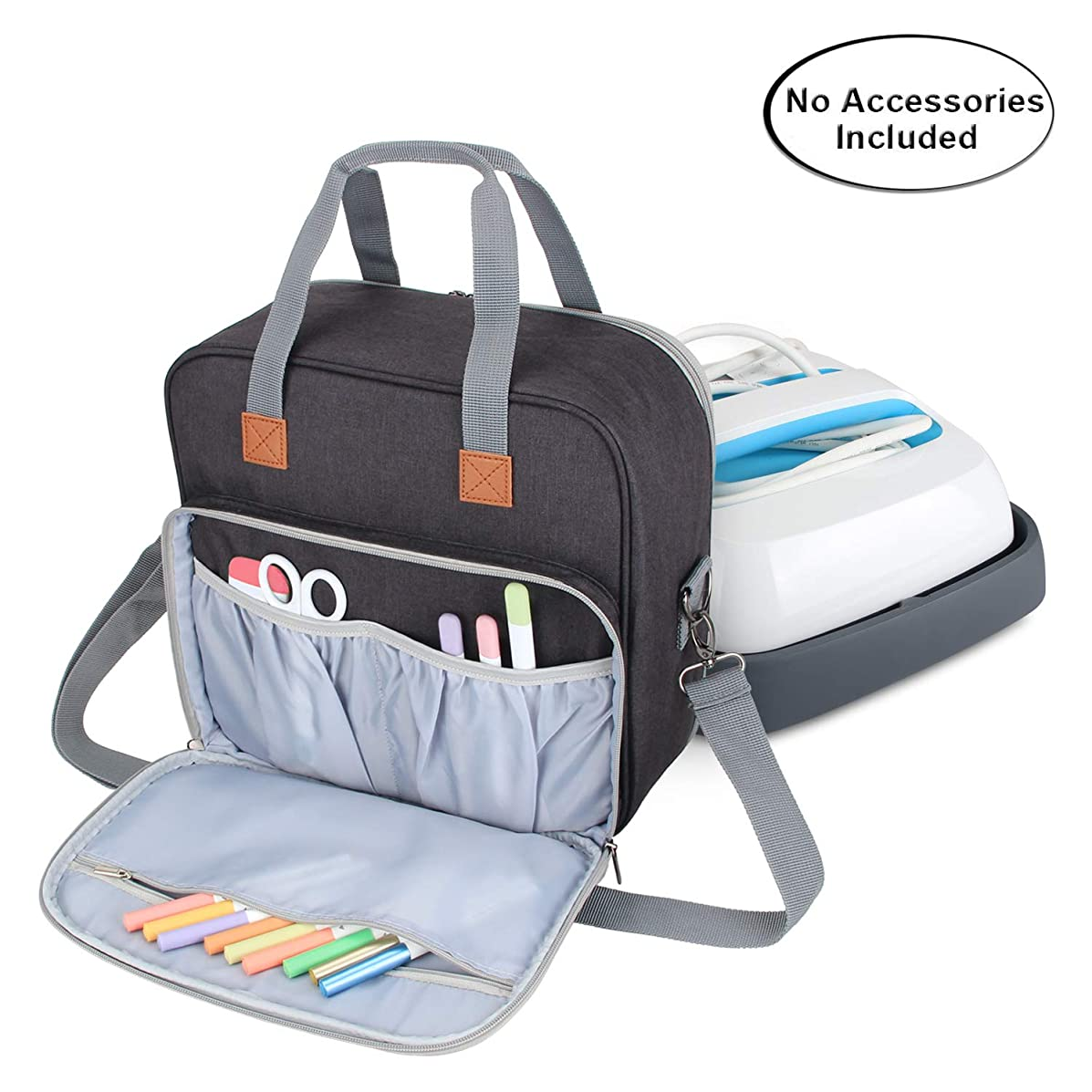 Luxja Carrying Case Compatible with Cricut Easy Press (9 inches x 9 inches), Tote Bag Compatible with Cricut Easy Press and Supplies (Bag Only, Patent Pending), Black