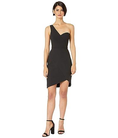 BCBGMAXAZRIA One Shoulder Short Cocktail Dress (Black) Women