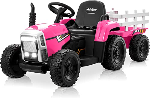 lowest Kidzone 12V 7AH EVA Treaded Tires Kids Battery Powered Electric Tractor with Trailer Toddler outlet sale Ride high quality On Toy Ground Loader Dual Motors 3-Gear-Shift 7-LED Lights USB & Bluetooth Audio, Pink outlet sale