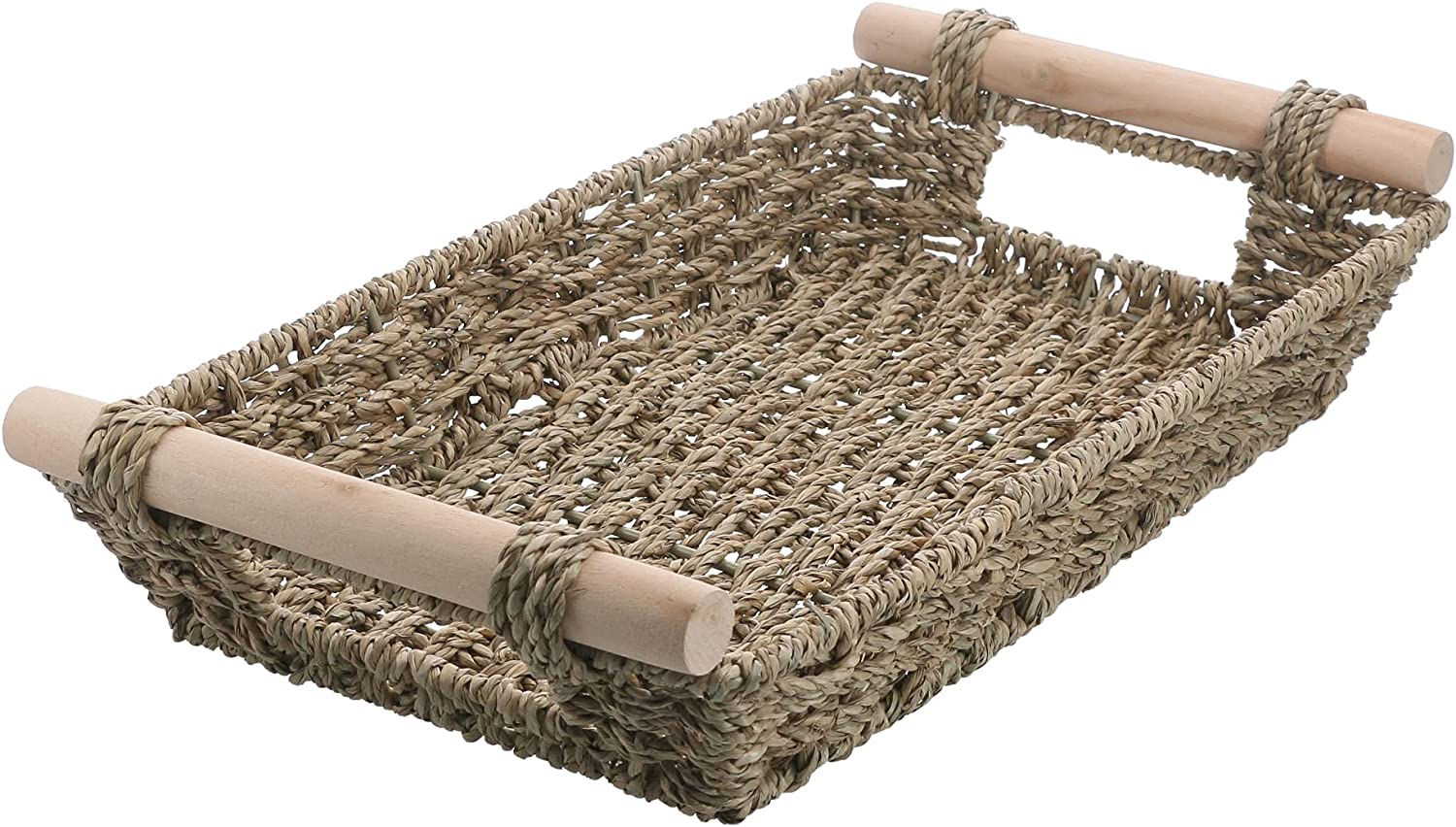 Woven Storage Seagrass Wicker Basket Directly managed store Tray Woode Popular popular with Rectangular