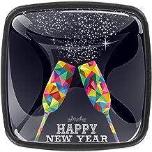 Keukenkast knoppen - Gelukkig Nieuwjaar Cheers Champagne - Knoppen voor dressoir laden voor kast, kast, badkamer of kantoo...