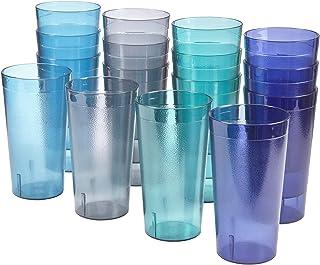 Cafe 20-ounce Break-Resistant Plastic Restaurant-Style Beverage Tumblers | Set of 16 in 4 Coastal Colors
