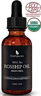 OneNaturals 纯净有机玫瑰果油 - 冷压,未精制, - 美国农业部认证的皮肤,面部,身体精油(1盎司)