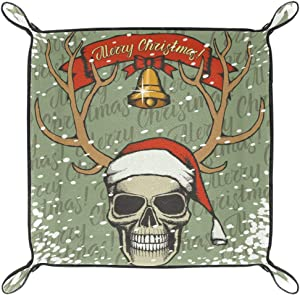 Christmas Skull in Santa Hat and Lettering Merry Christmas Valet Tray Storage Organizer Box Coin Tray Key Tray Nightstand Desk Microfiber Leather Pouch,16x16cm