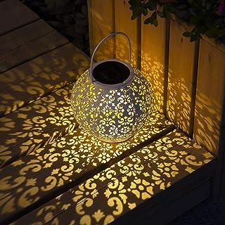 GIGALUMI Linterna solar Luces blancas colgantes de jardín Gran decoración de césped al aire libre para patio Jardín, patio y césped