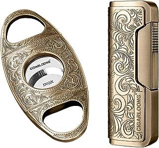 Cigar Cutter and Lighter Set Sharpening Blade Engraved Cigar Guillotine and Retro Carved Lighter(Color:Gold)