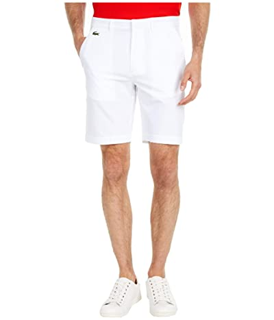 Lacoste Taffetas Solid Bermuda Shorts (White) Men