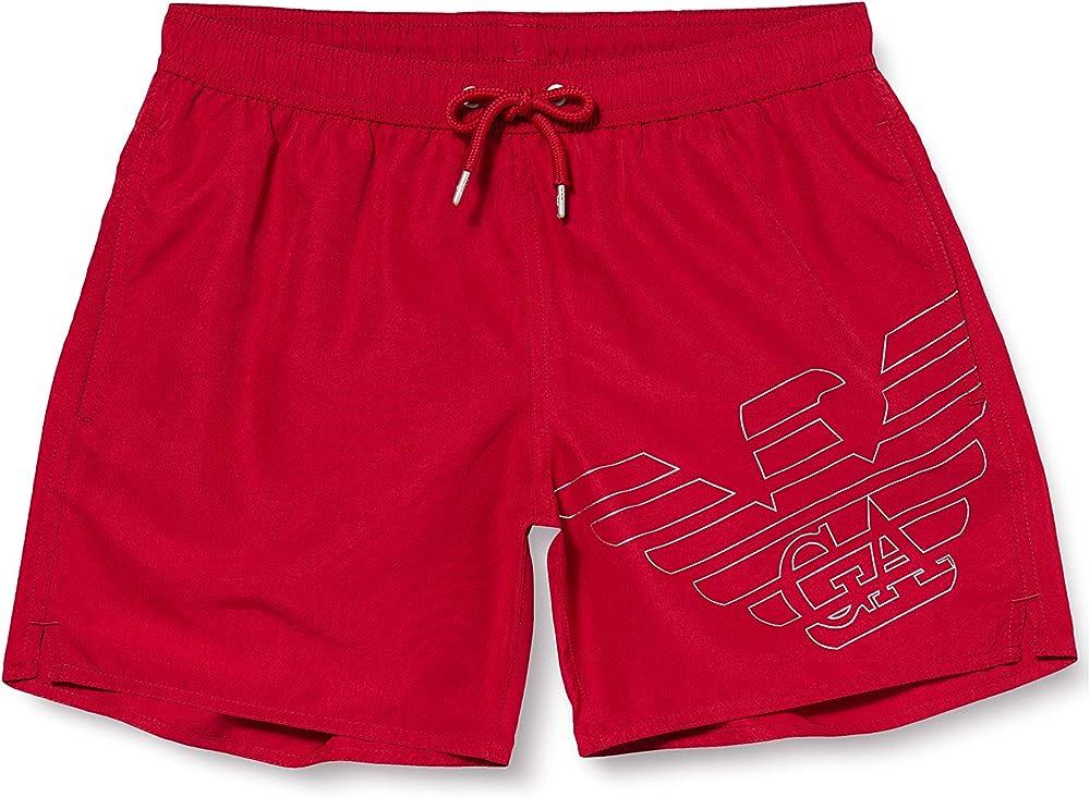Emporio armani swimwear boxer beachwear silver eagle, costume da bagno per uomo,100% poliestere 0P427211740