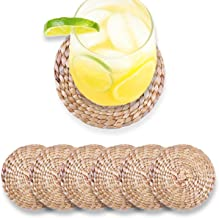 """Water Hyacinth Coasters for Drinks Set of 6 Pieces 3.93""""- Round Woven Placemats - Rustic Coasters with Holder - Seagrass C..."""