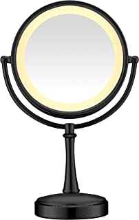 Conair 3-Way Touch Control Double-Sided Lighted Makeup Mirror - Lighted Vanity Makeup Mirror; 1x/7x magnification; Matte B...