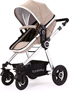 Baby Stroller Bassinet Pram Carriage Stroller - Cynebaby All Terrain Vista City Select Pushchair Stroller Compact Convertible Luxury Strollers add Foot Cover (Light Brown)