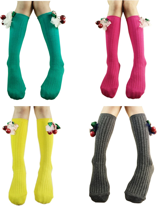 Deer Mum Children Girls Knee High Socks Stripe Patterned Colorful Kids Cotton Stockings