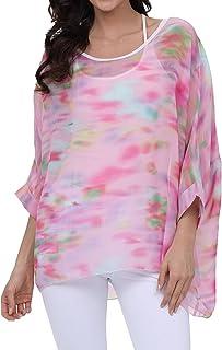 0b1e3b172b7b1c OUKIN Women Bohemian Floral Batwing Sleeve Plus Sheer Chiffon Oversize  Loose Off Shoulder Blouse Tunic Tops