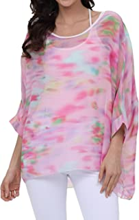 1fb799852358ba OUKIN Women Bohemian Floral Batwing Sleeve Plus Sheer Chiffon Oversize  Loose Off Shoulder Blouse Tunic Tops