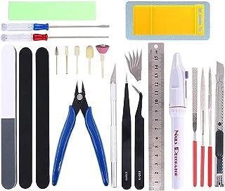 Qovydx 28Pcs Gundam Tools Kit Gunpla Tool Set Bandai Tool Kit Gundam Modeler Basic Tools for Gundam Model Building Repairi...