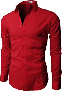 H2H Mens Dress Slim Fit Shirts Long Sleeve Business Shirts Basic Designed Breathable