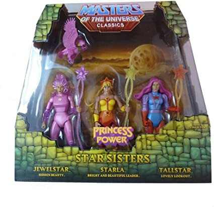 Amazon.com: He-man She-ra Masters of the Universe Classics Exclusive Action  Figure 3 Pack Star Sisters Starla Jewelstar Tallstar Mattel: Toys & Games