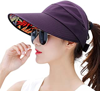 HINDAWI Sun Hats Women Wide Brim UV Protection Summer Beach Packable Visor b031ce7f39c5