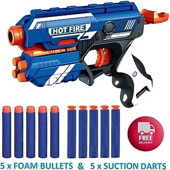 SKEDIZ DILLARD'S Blaze Storm Soft Bullet Gun Shooting Gun Toys with 5 Foam Bullets & 5 Suction Dart Bullets (Blaze Storm 10 PIS) (10 Bullet Gun)