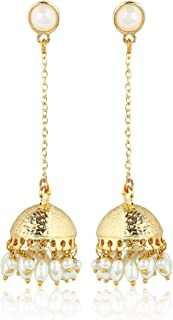 Traditional Long Indian Jhumka Jhumki Golden Dangle Earrings With Pearl For Women