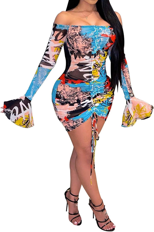 Uni Clau Women's Sexy See Through Drawstring Ruched Slim Dress Sheer Mesh Printed Mini Bodycon Party Dress