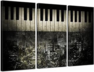 LevvArts -3 Piece Canvas Wall Art Piano Keyboard with New Yo