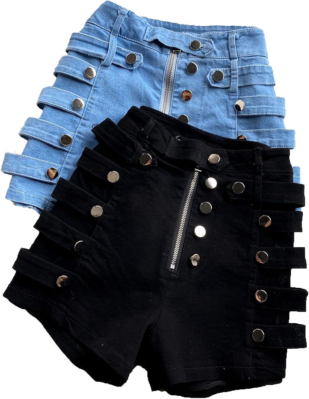 Summer Denim Shorts Women's high Waist Slimming Casual Shorts Side Metal Wide-Leg hot Denim Shorts