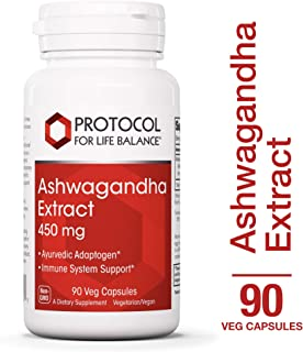 Protocol For Life Balance - Ashwagandha Extract 450mg - Helps Immune System Support, May Reduce Stress, Anxiety & Cortisol Levels - 90 Veg Capsules