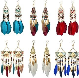 6 Pairs Bohemian Feather Dangle Earrings for Women Girls Vintage Long Tassel Feather Dangle Earrings Dream Catcher Lightweight Earrings Set