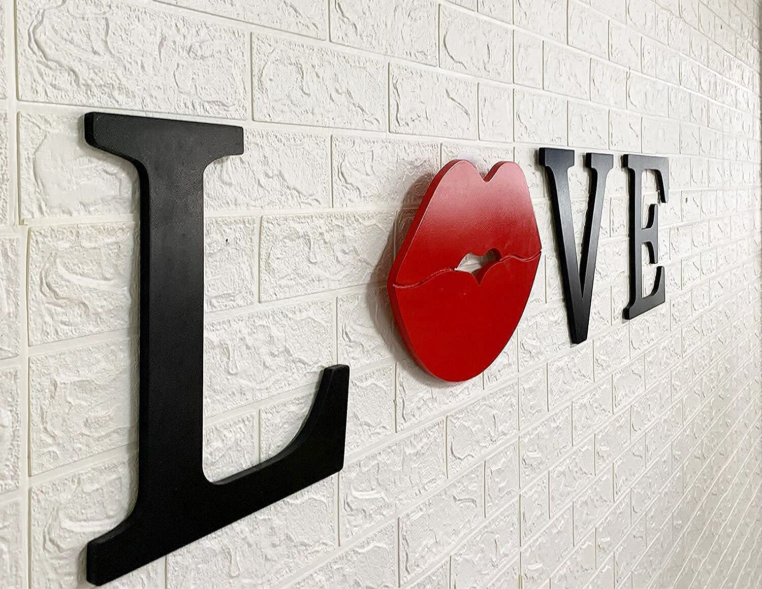 Wooden Love Signs for Home Decor 4 Pieces Wood Wall Art Love Letters Decoration for Wall Decor Red Lips Sign Artwork for Wedding Black and Red Couple Sign for Bedroom Ready to Hang