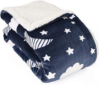 Manta de bebé Life Comfort Ultimate Sherpa, mullida azul marino luna estrellas manta para bebé niña o niño, suave cálida acogedora para bebé, bebé o recién nacido manta para cuna, cochecito, viajes, guardería