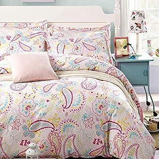 JUWENIN ,Pink Girls Floral Pattern Duvet Cover Set 3 Pieces (Duvet Cover+2 Pillowcases) (Queen, BHK)