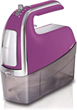 Hamilton Beach 6-Speed Electric Hand Mixer with Snap-On Case, Twisted Wire Beaters, Milkshake Rod, Dough Hook, Whisk, Purple (62621)