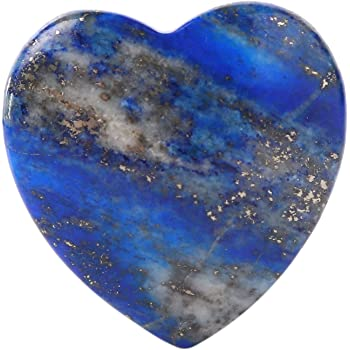 "Bingcute Lapis Lazuli Heart Love Carved Palm Worry Stone 40mm (1.6"") for Chakra Energy Healing, Reiki, Meditation, Massage and Decoration"