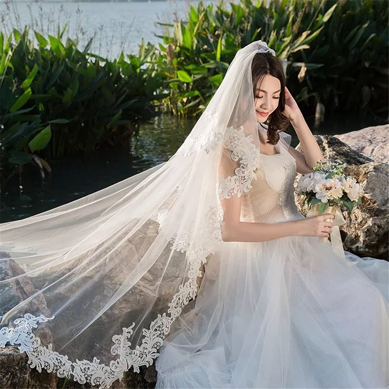 2T Bridal Veils Tulle Women Elegant Appliques Lace Edge Chapel Cathedral Length Long Bride Wedding Accessories Veil Ivory