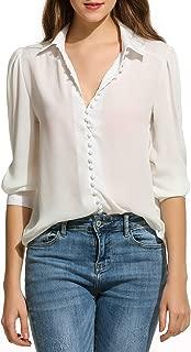 Women's V Neck Long Sleeve Button Down Shirt Casual Work Ofiice Chiffon Blouse Shirt Tops