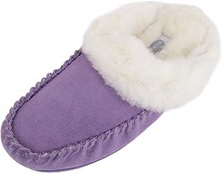 SNUGRUGS Womens Luxury Lambswool Suede Mule Slipper with Rubber Sole