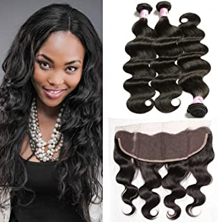 Beauty Forever 10A Virgin Brazilian Human Hair Body Wave Weave 3 Bundles with 13x4 Ear to Ear Lace Frontal Closure (16 18 20+14, free part)