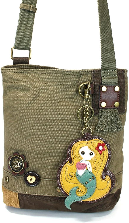 Chala Mermaid Patch Crossbody Bag, Olive